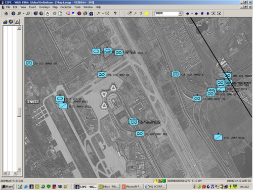BFT view of Baghdad International Airport, April 2003 attack