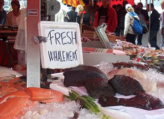 Fresh whale meat on sale in Bergen, Norway.
