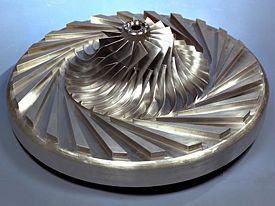 centrifugal compressor jet engine. 3: centrifugal compressor impeller inside a wedge diffuser jet engine