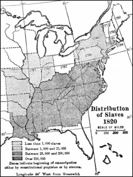 Pd Map Allen Johnson Distribution Of Slaves In The United States In 1820