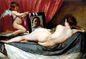 Painting of a nude woman looking into a mirror, with a naked child with wings (Cupid) holding the mirror.