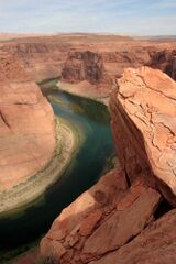 The Colorado river winds through Glen Canyon in northern Arizona.