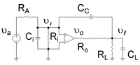 Operational amplifier with compensation capacitor CC between input and output to cause pole splitting.
