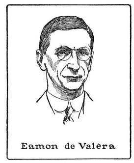 Éamon de Valera (1882-1975), leader of Sinn Féin and Fianna Fáil; drawing by Harald Toksvig.