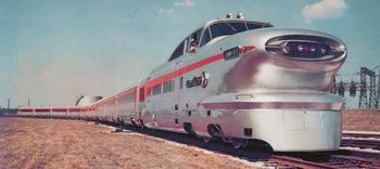 The first Aerotrain, General Motors Electro-Motive Division's experimental super-lightweight streamlined train set at EMD's facility in La Grange, Illinois.[1]