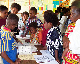 Vernacular languages literacy materials used on Pentecost Island in Vanuatu.