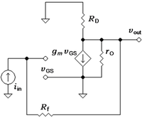 Small-signal circuit for transresistance amplifier
