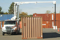 X-Ray truck examines shipping container