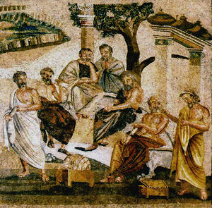 Picture of a painting made in ancient Greece depicting students at the Academy.