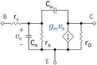 hybrid pi ce transistor model Hybrid pi or t-model for bjt  btw hybrid-pi works for any transistor configuration or transistor type as long as it is biased in linear mode and is small signal.