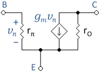 Simplified, low-frequency hybrid-pi BJT model.