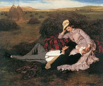 Painting of a man and woman, well dressed, the man lying down with his head in the woman's lap.