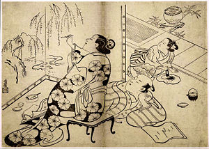 Courtesan painting a screen, Torii Kiyonobu I, ca. 1711