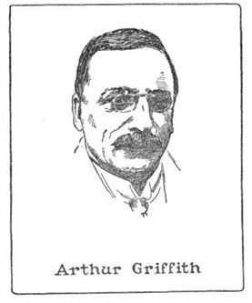 Arthur Griffith (1872-1922), founder of Sinn Féin; drawing by Harald Toksvig.