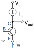 Common base circuit with active load and current drive.