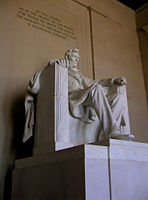 Statue of Lincoln in the Lincoln Memorial.