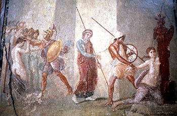 Picture of a woman surrounded by men with spears.