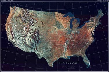 The United States Of America Shown In A Physical Relief Map