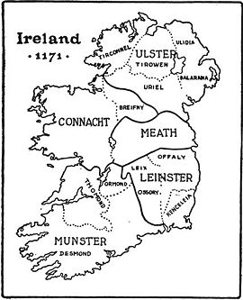Ireland in 1171 showing traditional provinces; map by Harald Toksvig.