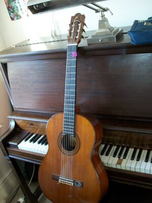Guitar in front of a piano