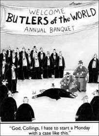 "A comic from Gary Larson's Far Side series depicting a new twist on the comedic theme, ""The butler did it!"""