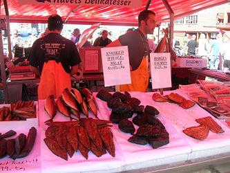 Smoked whale meat and fish on sale at a market in Bergen, Norway.
