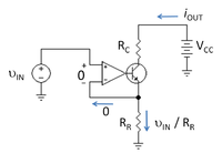 Operational-amplifier based current sink. Because the op amp is modeled as a nullor, op amp input variables are zero regardless of the values for its output variables.