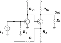 Two-transistor feedback amplifier; any source impedance RS is lumped in with the base resistor RB.