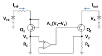 Gain-boosted current mirror with op amp feedback to increase output resistance.