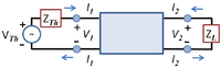 Two-port network with symbol definitions.