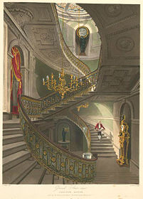 An 1819 work, Grand Stair-case - Carlton House, by British artist William Henry.  Note how the butler is depicted in performance of duties.