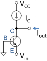 Bipolar transistor with base grounded and signal applied to emitter.