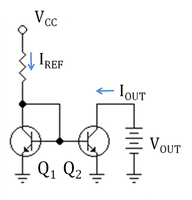 A current mirror implemented with npn bipolar transistors using a resistor to set the reference current IREF; VCC = supply voltage.
