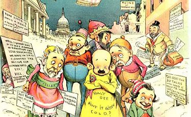 1896 judge cartoon that makes fun of silverite politicians the yellow
